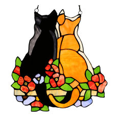 """12.5"""" Stained Glass Cats in the Garden Window Panel, Orange"""