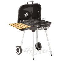 """Deluxe Covered Brazier Charcoal Grill With Shelf, 22"""""""