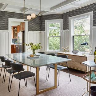 Источник вдохновения для домашнего уюта: отдельная столовая среднего размера в стиле фьюжн с белыми стенами, темным паркетным полом, стандартным камином, фасадом камина из камня, синим полом, кессонным потолком и панелями на стенах