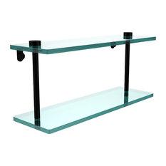 "16"" Double Glass Shelf, Matte Black"