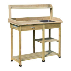 Convenience Concepts Deluxe Potting Bench in Natural Fir