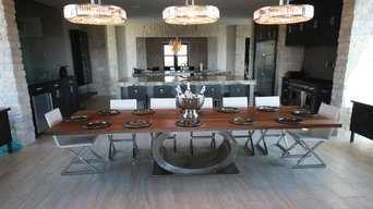 Natural Live Edge Walnut Dining Table with O Stainless Base
