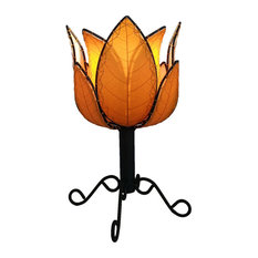 Outdoor Indoor Lotus Table Lamp, Orange