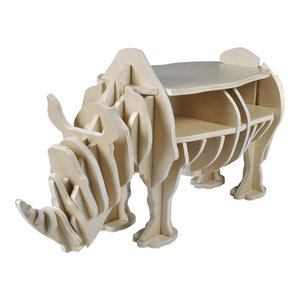 VidaXL Wooden Rhino Home Decor Shelf Book Organizer Side Table