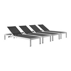 Shore Set of 4 Outdoor Patio Aluminum Chaise, Silver Black