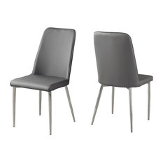 Monarch Gray Leather Look And Metal 2-Piece Dining Chair