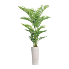 """Artificial Faux Plastic 84"""" Tall Real Touch Palm Tree and Fiberstone Planter"""