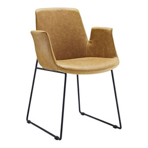 Modway Aloft Faux Leather Dining Arm Chair in Tan