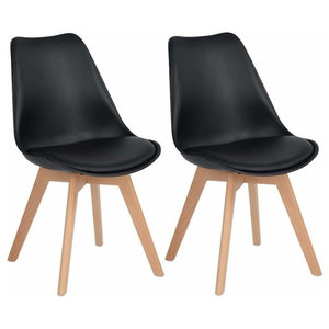Set of 2 Chairs, Solid Wood Legs and Faux Leather Padded Seat, Tulip Design