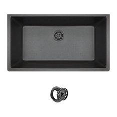 Large Single Bowl Quartz Kitchen Sink, Black, Colored Flange