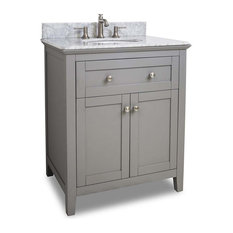Hardware Resources VAN102-30-T Chatham Shaker Vanity With White Marble Top, Bowl