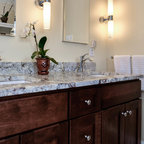 Black And White Granite Countertop With Chrome Fixtures