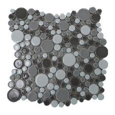 Bubble Porcelain Circle Mosaic Tile, Dark Gray With White, 11 Sheets