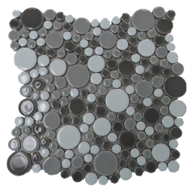Bubble Porcelain Circle Mosaic Tile Dark Gray With White 11 Sheets