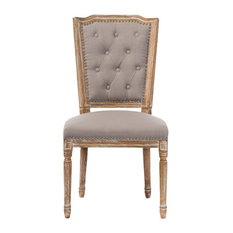 Estelle Weathered Oak Button-tufted Upholstered Dining Chair, Beige