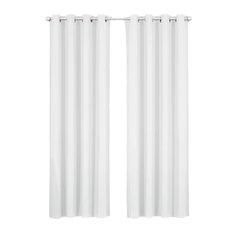 "Luxor Grommet Cotton Room Darkening Solid Panels, White, 108""x108"", Set of 2"