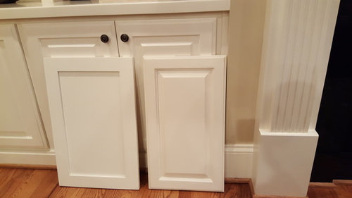Delicieux BM White Dove On Left SW Dover White On Right. Background Cabinets Are SW  Dover White.