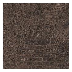 Faux Crocodile Skin Wallpaper, Dark Brown, Bolt