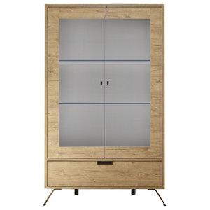 Parma Wide Display Cabinet, Lights, Light Oak