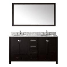 """Caroline Avenue 60"""" Double Bathroom Vanity,Espresso,Marble Top,Round Sink,Mirror"""