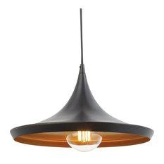 1 Light Flat Modern Industrial Pendant, Oil Rubbed Bronze, Gold Inner Finish