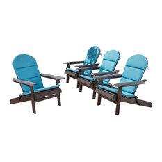Malibu Outdoor Acacia Folding Adirondack Chairs, Set of 4, Dark Gray/Dark Teal
