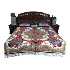 Mogul Interior - Mogul Bed Cover Indian Tapestry 100% Cotton Bedspread Queen Size - Blankets