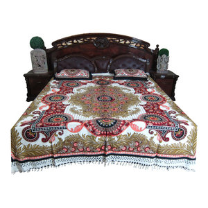 Mogul Interior - Mogul Bed Cover Indian Tapestry 100% Cotton Bedspread Queen Size - Quilts And Quilt Sets