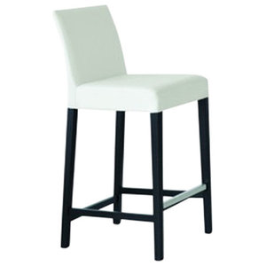 White Bloom Leather Bar Stool