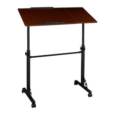 Contemporary Laptop Stand, Steel Frame, MDF Top, 4-Caster Wheels, Red