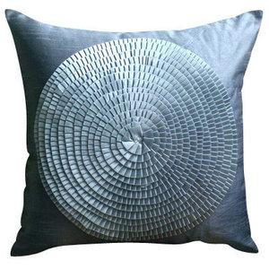 Ribbon Art Work Gray Shams, Art Silk 60x60 Pillow Shams, Vintage Adorned