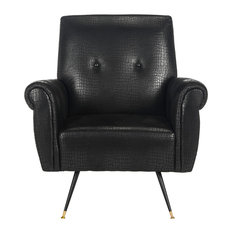Mira Retro Mid-Century Faux Leather Accent Chair, Black