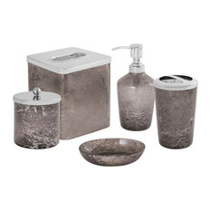 Minerva Crescent - 6.5 Inch 5 Piece Bath Collection  Smoke Artifact/Stainless