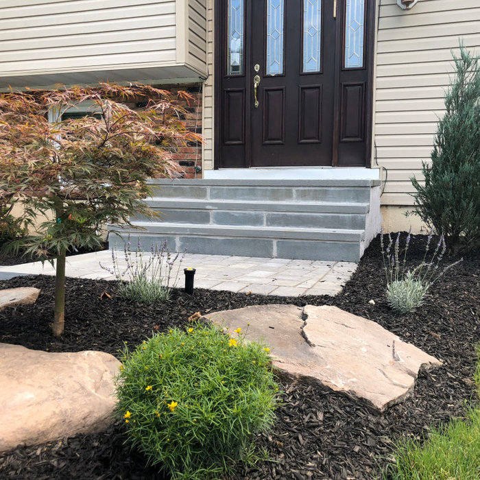 Elegant walkway and bluestone steps with beautiful landscape design