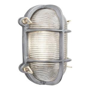 Bulkhead Outdoor & Bathroom Oval Light - 6 Inch - Gunmetal, Side Wiring