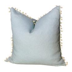 Linen Pillow Cover With Pompom Trim, Sky Blue