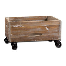 Uttermost   Uttermost Stratford Reclaimed Wood Rolling Box   Storage Bins  And Boxes