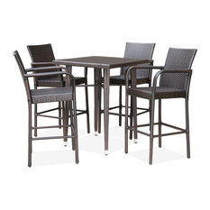 "GDF Studio 5-Piece Colburn Outdoor Multi-Brown Wicker 32.5"" Square Bar Table Set"