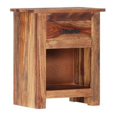 VidaXL Solid Sheesham Wood Nightstand Sturdy 15.7-inch Storage Bedside Cabinet