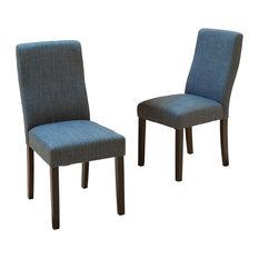 GDF Studio Heath Fabric Dining Chairs Indigo Set Of 2