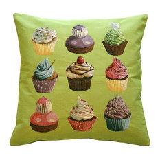 Pillow Decor - Cupcakes on Green French Tapestry Throw Pillow