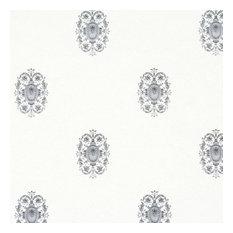 Classic White/Silver Wallpaper, Double Roll