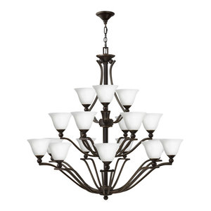 Hinkley Bolla Chandelier Extra Large Three Tier, Olde Bronze With Opal Glass