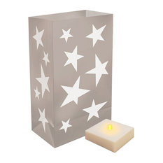 Battery Operated Luminaria Kit With Timer, Silver Stars, 12-Piece Set