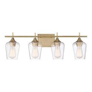 Octave 4-Light Bath Bar, Warm Brass