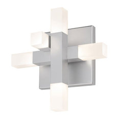 Connetix LED Sconce With Bright Satin Aluminum Finish and Frosted Shade