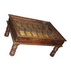 Mogulinterior   Consigned Antique Arabic Calligraphy Indian Hand Carved Coffee  Table   Coffee Tables