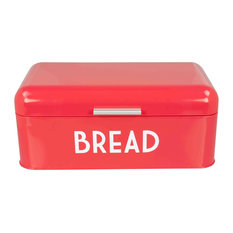 Home Basics  Metal Bread Box with Lid, Red