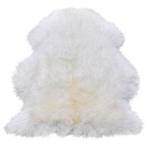 Sheepskin White Sheepskin Rectangle Plain/Nearly Plain Rug 120x180cm