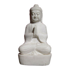 Chinese Antique White Marble Hand Carving Sitting Buddha Statue